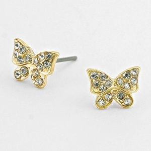Gold butterfly earrings NWT